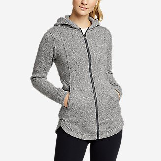Women's Radiator Sweater Fleece Long Full-Zip Jacket in Gray