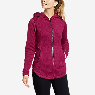 Women's Radiator Sweater Fleece Long Full-Zip Jacket in Purple