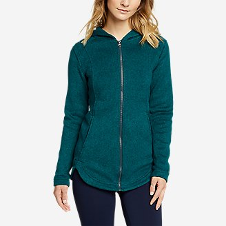 Women's Radiator Sweater Fleece Long Full-Zip Jacket in Green