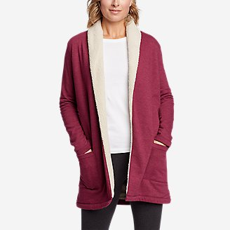 Women's Sherpa Cabin Cardigan in Red