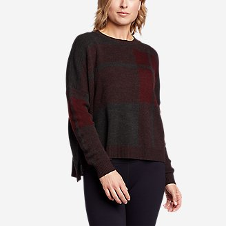 Women's Easy Pullover Crewneck Sweater - Plaid in Red