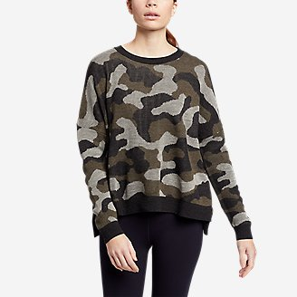 Women's Easy Pullover Crewneck Sweater - Camo in Green