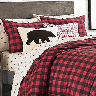 Mountain Plaid Comforter/Sham Set - Scarlet in Red
