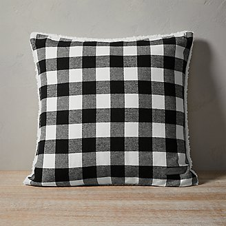 Cabin Plaid Pillow in Black