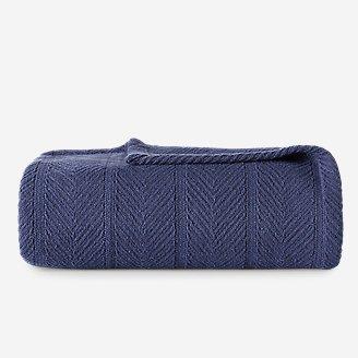 Herringbone Cotton Blanket - Navy in Blue