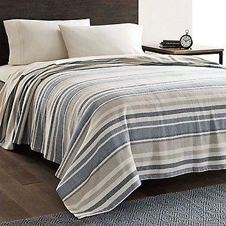 Herringbone Cotton Blanket - Blue Stripe in Multi