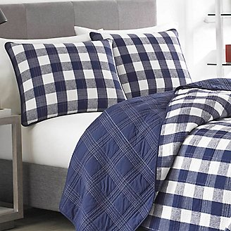 Lake House Quilt/Sham Set - Plaid in Blue