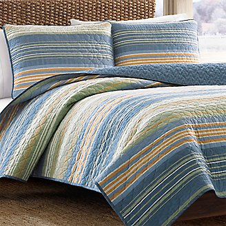 Yakima Valley Quilt/Sham Set - Stripe in Blue