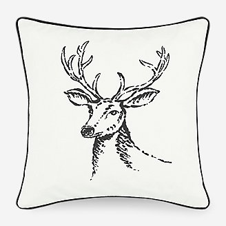 Winter Morning Stag Pillow in White