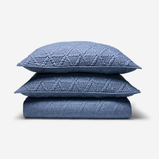 Quilted Coverlet Set in Blue