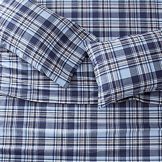 Portuguese Flannel Sheet Set - Plaids & Heathers in Blue