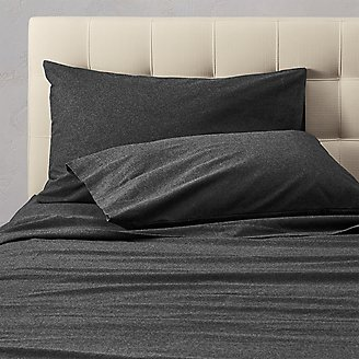 Flannel Pillowcase Set - Heather in Black