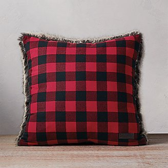 Lodge Faux Fur Pillow in Red
