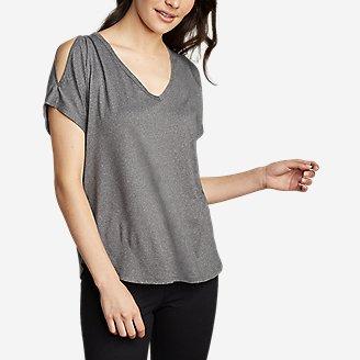 Women's Cold Shoulder V-Neck Top in Gray