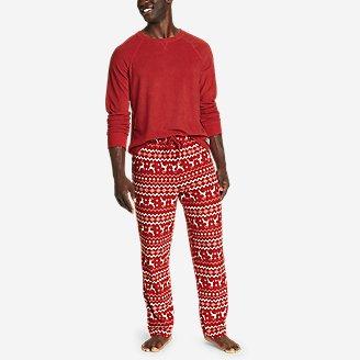 Men's Quest Fleece Sleep Set - Print in Red