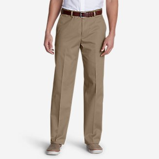 Men's Dress Performance Flat-Front Khakis - Classic in Beige