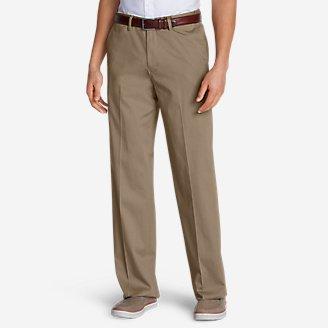 Men's Dress Performance Comfort-Waist Flat-Front Khakis - Relaxed in Beige