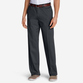 Men's Dress Performance Comfort-Waist Flat-Front Khakis - Relaxed in Gray
