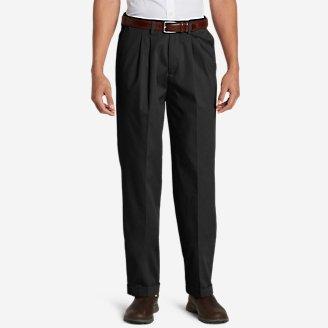 Men's Dress Performance Comfort-Waist Pleated Khakis - Relaxed in Black