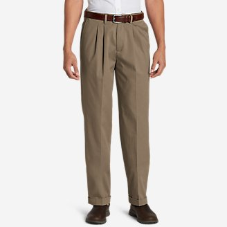 Men's Dress Performance Comfort-Waist Pleated Khakis - Relaxed in Beige