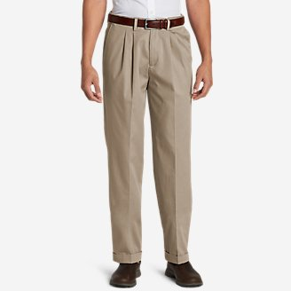 Men's Dress Performance Comfort-Waist Pleated Khakis - Relaxed in White