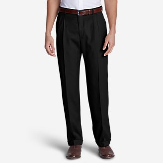 Men's Relaxed-Fit Pleated-Front Wool Gabardine Trousers in Black
