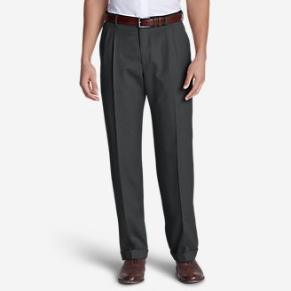Men's Relaxed-Fit Pleated-Front Wool Gabardine Trousers in Gray