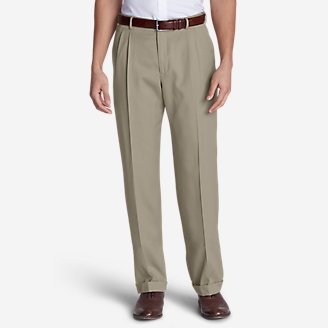 Men's Relaxed-Fit Pleated-Front Wool Gabardine Trousers in Beige