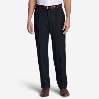 Men's Relaxed-Fit Pleated-Front Wool Gabardine Trousers in Blue