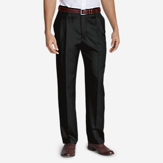 Men's Relaxed-Fit Pleated Comfort-Waist Wool Gabardine Trousers in Black