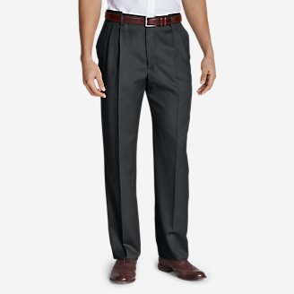 Men's Relaxed-Fit Pleated Comfort-Waist Wool Gabardine Trousers in Gray