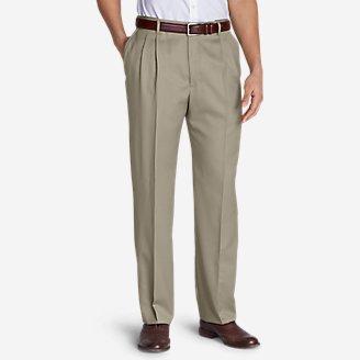 Men's Relaxed-Fit Pleated Comfort-Waist Wool Gabardine Trousers in Beige