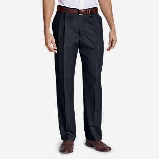 Men's Relaxed-Fit Pleated Comfort-Waist Wool Gabardine Trousers in Blue