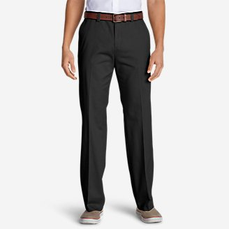 Men's Casual Performance Flat-Front Chinos - Classic in Black