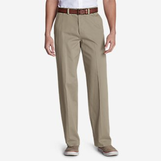Men's Casual Performance Flat-Front Chinos - Relaxed in Beige