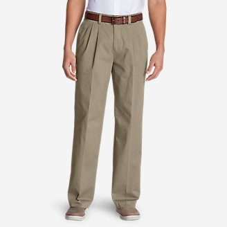 Men's Casual Performance Pleated Chinos - Relaxed in Beige