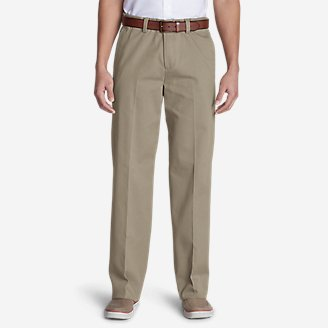 Men's Casual Performance Comfort-Waist Flat-Front Chinos - Relaxed in Beige