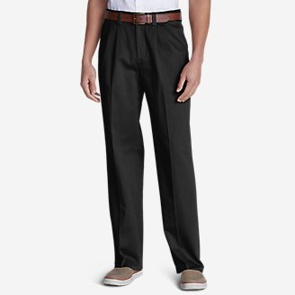 Men's Casual Performance Comfort-Waist Pleated Chinos - Relaxed in Black
