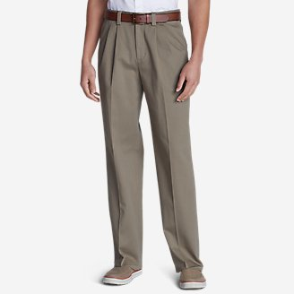 Men's Casual Performance Comfort-Waist Pleated Chinos - Relaxed in Beige