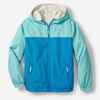 Kids' Windy Ridge Reversible Hooded Jacket - Color Block in Blue