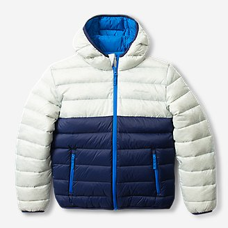 Kids' Cirruslite Down Hooded Jacket - Color Block in Blue