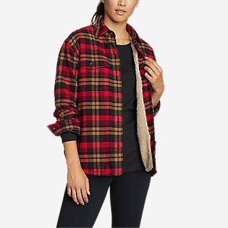 Women's Eddie's Favorite Flannel Sherpa-Lined Shirt Jacket in Brown