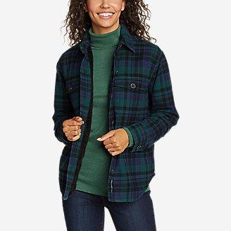 Women's Eddie's Favorite Flannel Faux Shearling-Lined Shirt Jacket in Green