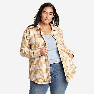 Women's Eddie's Favorite Flannel Faux Shearling-Lined Shirt Jacket in Beige