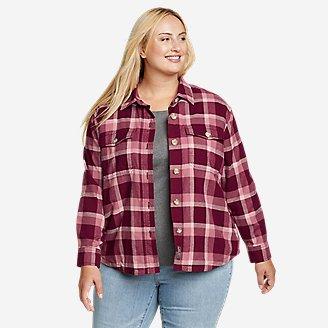 Women's Eddie's Favorite Flannel Faux Shearling-Lined Shirt Jacket in Purple