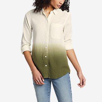 Women's Carry-On Long-Sleeve Button-Down Shirt - Dip Dye in Green