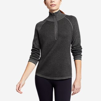 Women's Engage Mixed-Stitch 1/4-Zip Sweater in Gray