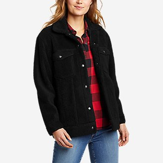 Women's Sherpa-Fleece Trucker Jacket in Black