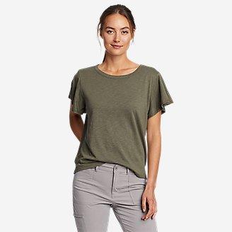 Women's Gate Check Flutter-Sleeve T-Shirt in Green