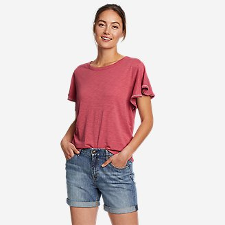 Women's Gate Check Flutter-Sleeve T-Shirt in Red